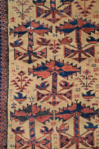 "Baluch balisht, 33"" x 22"" (83cm x 55cm), full pile, excellent condition, no stains, no pile damage, clear, deeply saturated natural dyes with what appear to be several silk highlights, the field  ..."