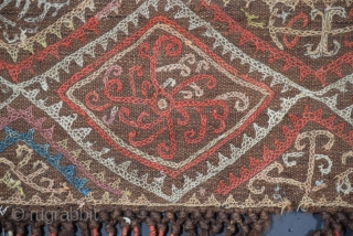 """Rare Kungrad yurt hanging, decoration for the yurt interior is not unusual but for some reason few in this style have survived, the band size is 7.5"""" x 95"""" (+/-), the tassels  ..."""