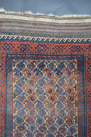 "Baluch Rug, Northeast Khorasan possibly Torbat-e-Haidar region, circa 1800, 35"" x 70"" with flatweave ends adding another 5""-6"", the condition is very good, full pile, no wear, no stains, with minor wear  ..."