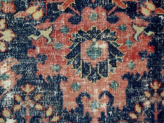 """18th century northeast Persian rug fragment (401), 30"""" x 52"""", the weaving was washed and professionally mounted."""