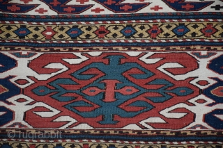 """Qarabagh Side Panel (#344), Central Transcaucasia, 16"""" x 38"""" (+/-), this side panel has the long, narrow dimensions common among Qarabagh mafrash, the borders feature the 'abdul burum' motif on a palette  ..."""