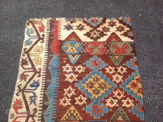 Turkish/ Konya Frangment kilim, Early 19th century . Size 2'9x9 ( 83x275 cm)
