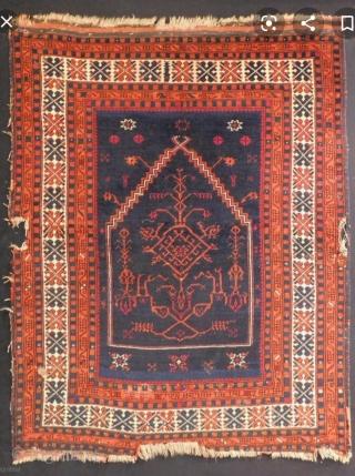 Size : 111x144 cm , West anatolia, Balikesir prayer rug ! Ca 1800s,