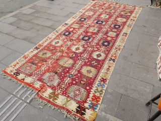Size :140 x 340 (cm)   Southeastern Anatolia (reyhanli) kilim Over 150 years old,  Very thin , Natural dyes !