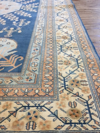 Antique handmade Rare Indian Agra rug,full cotton,lovely design and colours,good pile,All in natural,somewhere is old repaired, Around 80 years old,Summer Rug,Size:220cm by 137cm