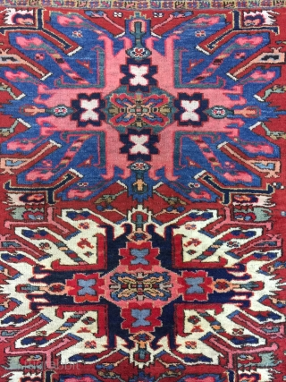 Antique Handmade Persian Heris Rug,Eagle design,pile it is good but some place is low,Some Professional Old repair,all in natural,Clean,Around 100 years old,Size:193cm by 149cm