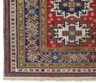 Antique Caucasian Chi Chi Rug with Lesghi Stars (or a Lesghi Rug with Chi Chi border?). 4x6.3 Ft (120x190 cm), ca 1890-1900. Original braided ends, sides and foundation, minor insignificant repiling on  ...
