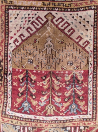 A Central Anatolian Child`s Prayer Rug, 42x40 inches (105x102 cm), sec. half 19th Century, original as found, no repairs.  www.rugspecialist.com