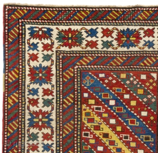 "Antique Caucasian Gendje Rug, 132x206 cm (4'4"" x 6'10""), ca late 19th Century. Very good condition, all natural dyes, original as found, no issues, no repairs."