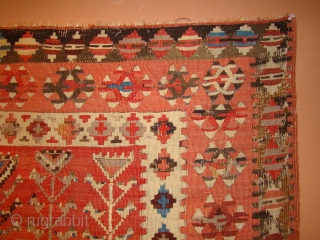 Turkish Prayer Kilim. 42X69 inches or 107X175 Cm. All intact with some repair/refill of the oxidized brown in the border area as shown.