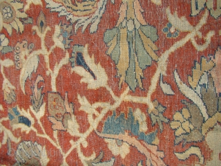 Large Zigler Mahal over 12X16....around 4X5 m. Worn in the field, original perfect sides and ends. The braided ends are conserved under the attached fringe(corner photo). Both detail photos are from the  ...