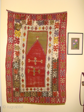 "Anatolian Turkish Prayer Kilim. 3'6""X5'4"" ....107X162 Cm. Mounted, sides and ends intact with some of the ends tucked under."