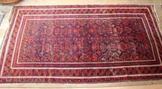Large Baluch rug with great wool and floppy blanket like handle. 4.3x7.8