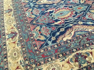 Antique Ravar Kirman carpet signed by the Armenian master weaver Kasitkian.  Fine weave and floppy handle with great soft wool. In remarkable condition with only a small crease in the border area, secured  ...