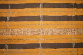 #rb058 Rare 19th century Indonesia Lampung south Sumatra Tapis kaca cucuanda ceremonial cloth, natural color gold threat silk embroidery, gold threat mirror, good condition minor re stitched.