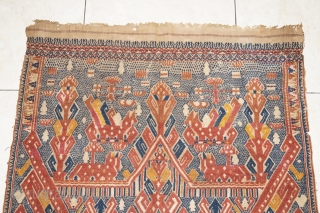 #rb033 Rare and large Red Tampan ceremonial cloth Kalianda district Lampung south Sumatra Indonesia, Paminggir people handspun cotton natural dyes supplementary weft weave, rare with red and blue color motif, good condition,  ...