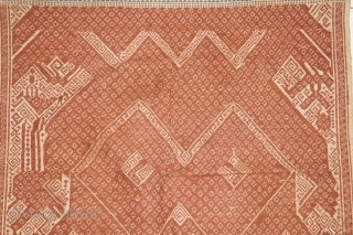 #rb051 a large Tampan ceremonial cloth from Lampung region south Sumatra Indonesia, Paminggir people handspun cotton natural dyes supplementary weft weave, good condition with small hole please see picture for deatail size:  ...