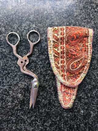 An antique Persian metal scissors and silk velvet scissors bag, dating to the 19th century Iran. These are probably from Yazd region of Iran. Scissor bags in general are hard to find  ...