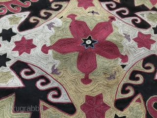 An exceptional and top tier example of an antique Uzbek Lakai Tribe silk embroidered Ilgich / Ayna Khalta hanging dating to the third quarter of 19th century. This is one of the  ...