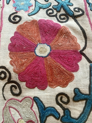 A lovely antique Uzbek silk suzani from 19th century rural Bukhara. It has fine polychrome silk chain-stitched embroidery on a cotton ground known as Karbos. The floral design is arranged in a  ...