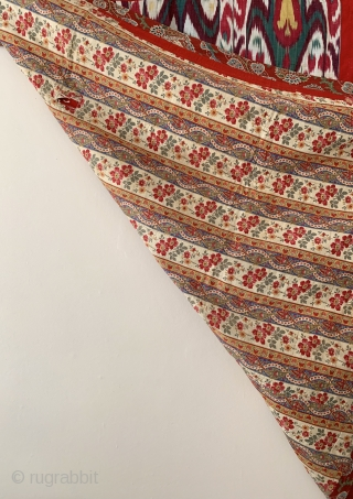 An Exceptional Antique 19th c. Uzbek Adras quilted Ikat bed spread from Bokhara / Bukhara region. This is one of the very few examples of authentic Uzbek bed spread I have seen  ...