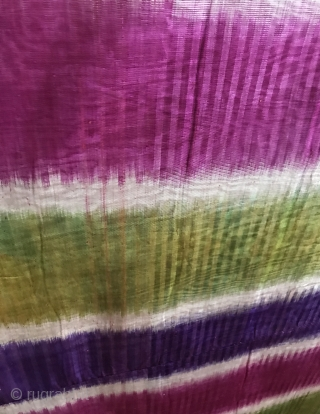 A beautiful antique Uzbek Adras Ikat panel that really looks like a modern art except that it dates to early 1900. It is a fine silk warp and cotton weft ikat and  ...
