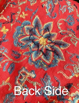 """An an exceptional antique Chinese silk embroidery from Qing dynasty. Dating to the 19th century, the fine stitch used in this piece is referred to as """"the forbidden stitch""""; the romantic explanation  ..."""