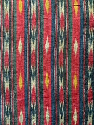 An exceptional antique early to mid 19th century Uzbek silk warp / cotton weft Adras Ikat, likely from Samarkand area. This is one of those rare early Ikats that really needs to  ...