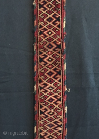 An excellent and rare antique Turkoman / Turkmen Goklan fully liked and complete tent band. It dates to the 19th century. I have seldom seen fully piled tent bands and especially one  ...