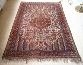 "A rare white-ground Khamseh rug, with luminous natural colours. Second half 19th Century.  6'5"" x 4'6"" /196 x 138cm"