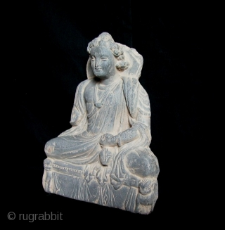 "Beautiful Gandhara Grey Schist Stone Buddha, 2nd to 3rd Century, NW Frontier Area, Afghanistan/Pakistan. 9""tall x 8""wd."