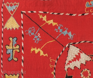 Quirky Central Asian embroidery silk on wool cloth.  Possibly unfinished??  All dyes natural.