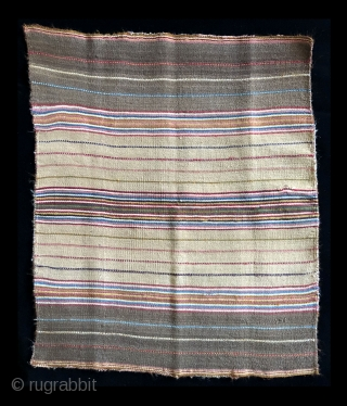 Warp faced stripes of intense color.  Aymara ritual coca cloth (Incuna) .  Middle 19th century.  Size: 24 x 20 inches.  Most coca cloths are larger in size, but  ...