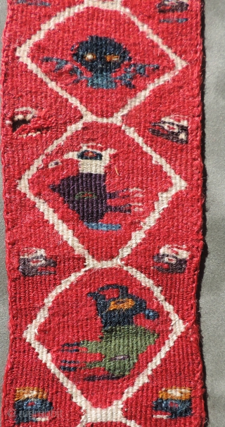 Andean Pre-Columbian tapestry woven textile with whimsical creatures.  Strong colors and charming, primitive little figures - birds and other animals.  Wari Culture.  A.D. 600 - 900.  Size: 2.75  ...