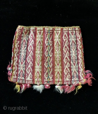 Two Aymara warp-faced woven coca bags from the Lake Titicaca region.  Both bags are in super condition and are quite unusual design-wise.  They are on the smaller of coca bags,  ...