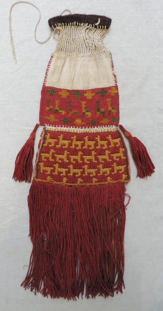 Classic Incan official's ceremonial coca bag, Peru, South Coast. ad 1400 -1532. This is an excellent and rare example of a type of bag thought to be used by Incan elites and  ...