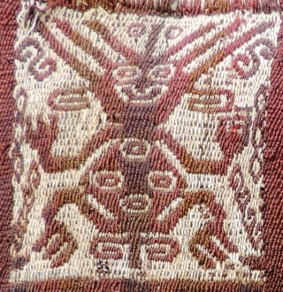 "Pre-Columbian ""Snake Juggler"" Coca Bag. Arica, Chile, circa 1100 - 1400 A.D.  This bag was featured in the well known Hali 100 issue and article on Andean coca bags.  In  ..."
