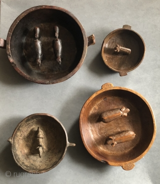 """Altiplano ritual libation vessels.  These were used in important ceremonies such as the """"animal increase rite"""" which has its origins in the  Pre-Columbian period.  Each bowl is made in  ..."""