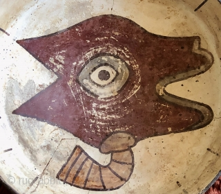 Pre-Columbian shallow bowl with stylized llama head on white background.  Nasca Culture, Peru. A.D. 200 to 600. Size: 10 inches in diameter x 3 inches deep.  The Llama is depicted  ...