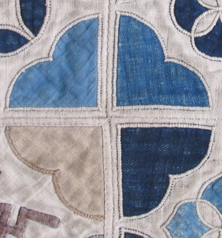 This tranquil old Maio textile has a timeless, graceful quality about it with a latticework design reminiscent of stained glass. Probably a bed cover, it measures 50 x 62 inches including the  ...