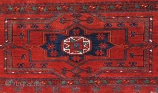 Spectacular, large, near mint condition 19th century Middle Amu Daria Turkmen wedding trapping. Size: 71 x 23 inches - 180 x 59 cm.  The design type features a large central medallion  ...