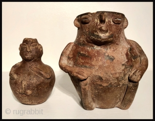 Arte Primitivo. Two Pre-Columbian ceramic effigy vessels from the South Central Andes. Of unknown origin, these vessels have a decidedly more primitive look that distinguishes them from other Lake Titicaca Basin ceramics.  ...