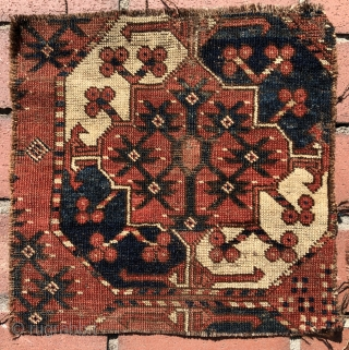 Stems and seeds... Four good old Turkmen carpet fragments that haven't seen the light of day for more than 40 years.  Eagle group, Tekke and Ersari main carpet fragments plus a  ...