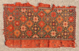 Early Bedding Bag Faces (pair).   One sold, one still available. Beautiful color and soulful presence. These convey an ancient aesthetic. 1850 or before. Suitable for mounting. The bottom one in  ...