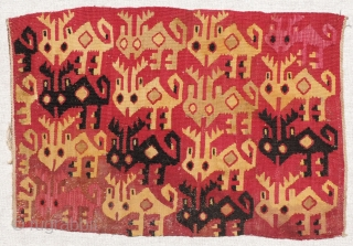Detail from a Pre-Columbian tapestry panel depicting a herd of Andean Brocket Deer.  These animals were revered in the andes and were captured in ritual hunting expeditions during Incan times and  ...
