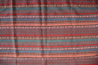 "19th century Persian Jajim in complete condition, no holes, no stains and all natural dyes. 6'11"" x 8'4"" / 211 x 254cm"