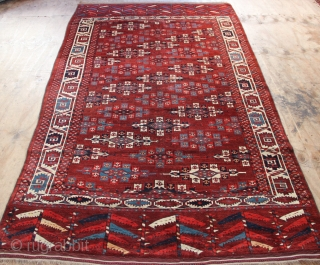 Mid 19th century Yomud main carpet, Kepsi gul, deeply saturated dyes, forest green, sky blue, mahogany ground. Full pile! One small old repair and a couple of plant pot stains, looking like  ...