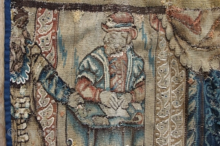 """17th/18th century Flemish tapestry fragment depicting King Solomon. 3'10"""" x 3'7""""/ 117 x 110cm was £575 GBP now £475 GBP"""