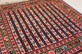 """Early 20th century silk wefted Qashqai Pushti 51 x 52cm / 1'8"""" x 1'8"""" in excellent condition. Sides new overbound. Typical 'hot' red."""