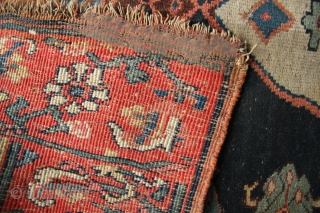 """Very thick and heavy Kurd Bidjar Kelleh circa 1900. Worn and a little raggedy around the edges, with some original selvedges on all four sides. Approx 4'6"""" x 9'0"""""""